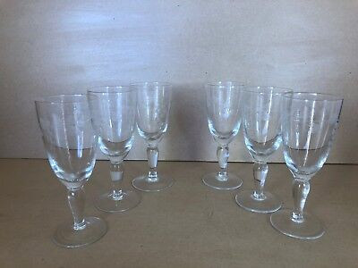 Vintage Stemmed Glasses Set Of 6 Fortified Wine, Grapes And Vines