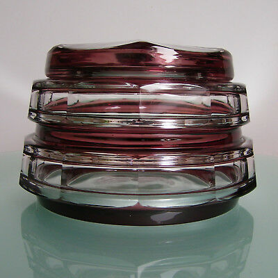 Val St Lambert Art Deco Bonbonniere Cristal Covered Candy Box Overlay Glass 1930