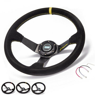 Universal 350mm Deep Dish Drift Racing Steering Wheel leather With Horn Button