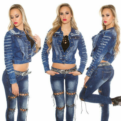 Womens Ripped Denim Jacket Blue Washed NEW Sexy Short Jeans Top Size XS S M L