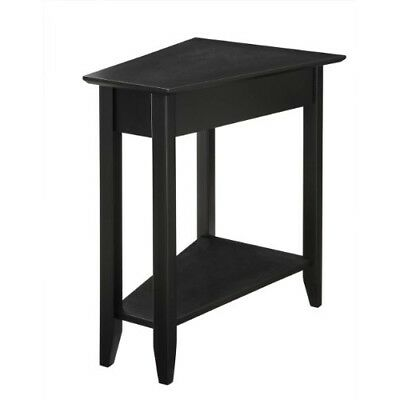 BLACK END TABLE Bedroom Night Stand Livingroom Side Wedge ...