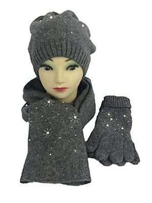 Womens Polyester Fleece Winter Set with Matching Hat, Gloves, and Scarf