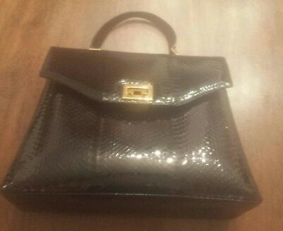 Borsa Vintage In  Rettile Colore Nero A Mano Made In Italy