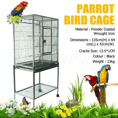 Aviary Parrot Bird Cage Stand Alone Budgie Perch Castor Wheels Large 137cm Black