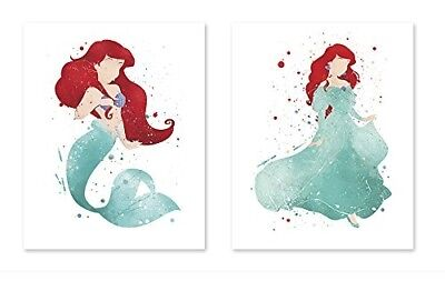 The little mermaid poster Ariel - 8x10 Watercolor Painting Paper Print Girl Dorm