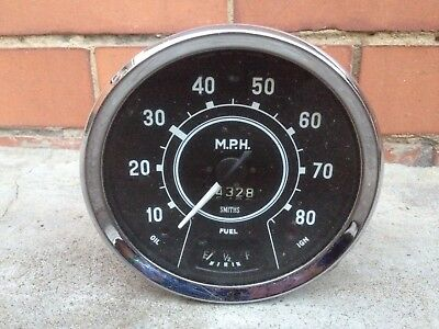 Vintage Smiths Y76580/8~1475 Tachometer 85-Mph Speed-Oil-Fuel-Ign Car/motorcycle
