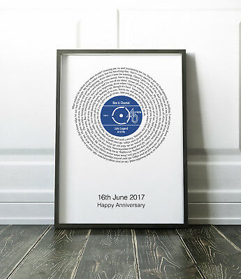 Personalised Record Print Anniversary Paper Wedding Gift First Dance / Our Song