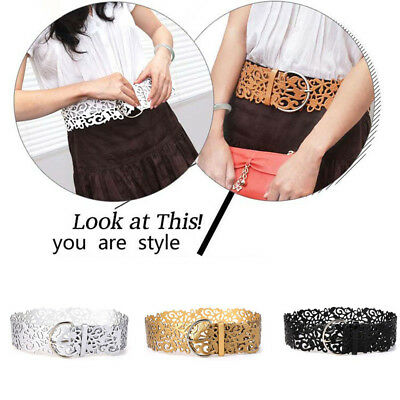 Wide Hollow Buckle Women Lady Belt Waistband PU Leather Stretch Belt