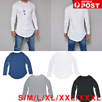 Men's Slim Fit Long Sleeve Shirt Solid Tshirt Muscle Tee Shirt Casual Top Blouse