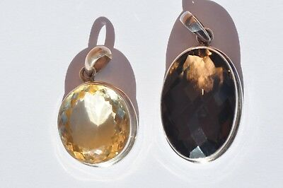 Stunning Natural Citrine! Smoky Quartz! 2 Faceted Sterling Silver .925 Pendants!