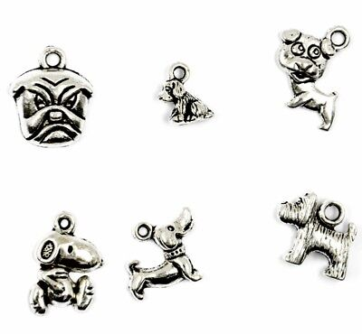 15pcs Assorted Vintage Antique Silver Alloy Dog Charms For Jewelry Making