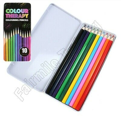 12 Colouring Pencils in Tin Artist Quality Colour Therapy Art Colouring Set
