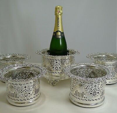 Five Antique English Silver Plated Wine / Champagne Coasters or Holders c.1900