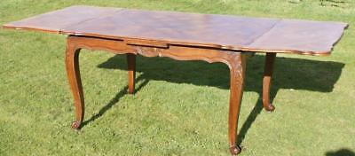Large French Vintage Oak  Louis Xv Style Draw Leaf Dining Table