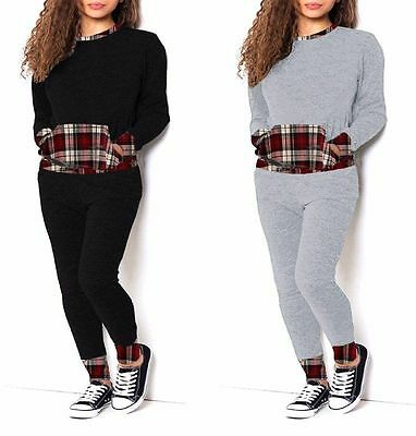 Ladies Tartan Check Contrast Loungewear Joggers With Pockets Sweat Tracksuit
