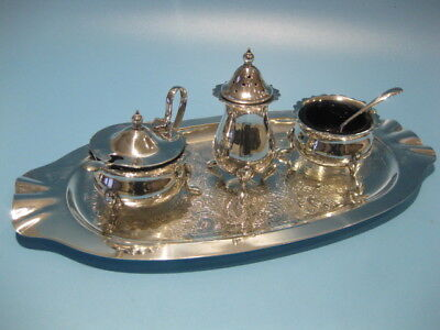 Very Nice Little Antique Victorian Style 3 Piece Silver Plated Cruet Set on Tray