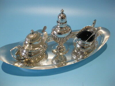 Exquisite Little Antique Edwardian Style 3 Piece Silver Plated Cruet Set on Tray
