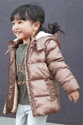 BNWT NEXT Girls Toffee Gold Hooded Padded Winter Coat Jacket 2-3-4-5 Y RRP £30