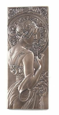 Beautiful Art Nouveau Style Wall Plaque Cold Cast Bronze Wall Art Brand New