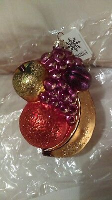 Christmas ornament glass fruit cluster banana Slavic Treasures made in poland