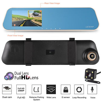 "4,3"" 1080p Dual Lens Spiegel Auto DVR Dashcam Video Recorder Rückspiegel Monitor"