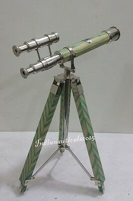 Royal Navy Telescope London 1915 Chrome Finish Telescope With Green  Tripod