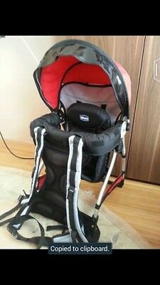 Chicco Red And Grey Caddy Baby / Toddler Backpack Carrier