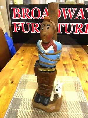 Tintin Snowy Wooden Figure Hand Carved Tied Up Tin Tin 76cm 30inch