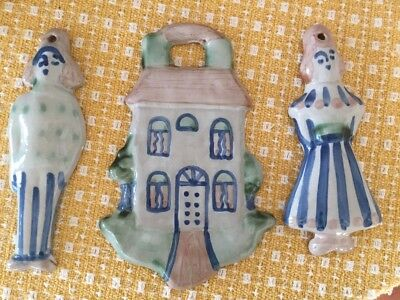 M. A .Hadley Country Scene 3 Ornaments a House, Farmer, and Wife Signed
