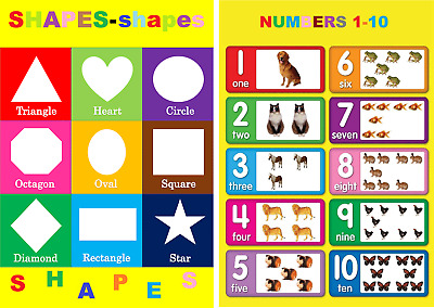 2 X Childrens Kids Chart Numbers 1-10 & Basic Shapes A4 Size Education Posters