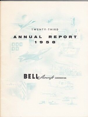 1958 Bell Aircraft Annual Report Huey Helicopter Model 47 Rockets XV-3 Rare!