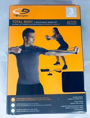 New Champion Total Body 3 Resistance Band Set Active Figure 8 Band Stretch