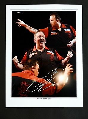 PHIL TAYLOR THE POWER DARTS HAND SIGNED PHOTO AUTHENTIC GENUINE + COA - 16x12