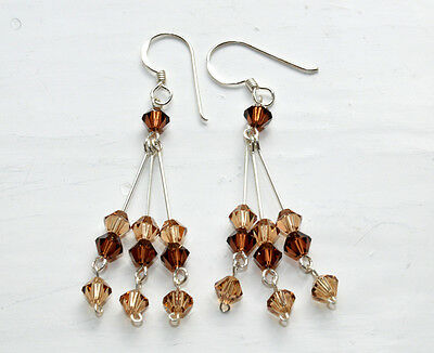 Crystal Earrings Dangle  Brown Colour Silver Hooks From Thailand Fair Trade Gift