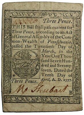 April 10th 1777 Pennsylvania Three Pence Colonial Currency Note