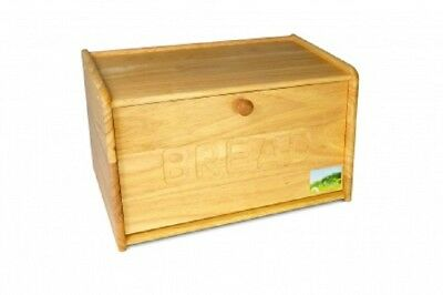 Wooden Engraved Bread Storage Bin Kitchen Drop Down Front Lid Handle Box 39Cm Ne