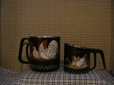 Vintage Foley Sifter Hand Painted Rooster, Hen, Farms, Folk Art By Jmd