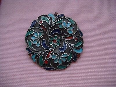 RRR RARE  Antique Sterling Silver 900 Enamel Pin Brooch Hand Made