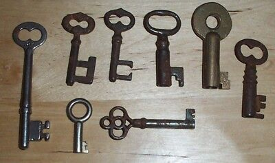 Vintage Key Lot, Brass Adlake, Antique Collectible Lock Keys, Barrel +