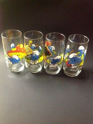 "1982 Vtg Lot 4 Peyo Smurf Drinking Glasses 6"" Lazy Grouchy,Jokey,Brainey  mint."