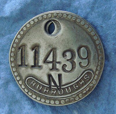 Vintage Tool Check Brass Tag: BURROUGHS Corporation; Business Equipment