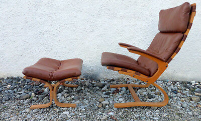Lounge chair Norway Scandinavian Design Oddvin Rykken for Rybo plus Ottomane
