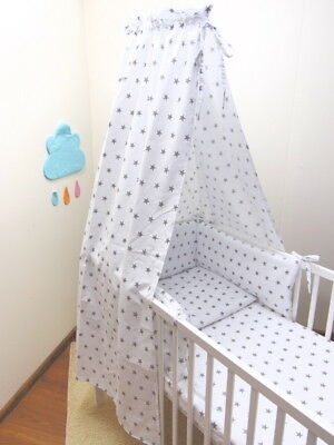 Baby boys girls ,infant cot bed canopy stars pattern white,grey 220 x 150cm