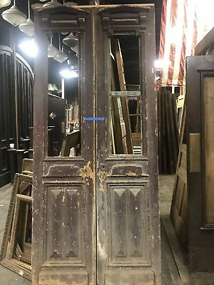 Pair Antique Entry Doors. Painted With Nice Wood Detail. Great Pantry Doors