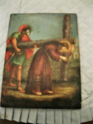 Vintage Oil Painting On Wood Jesus Carrying The Cross Great Condition