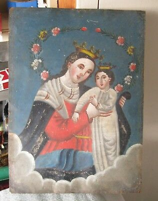 Retablo On Tin With The Image Of Our Lady Of Refuge In Very Good Condition