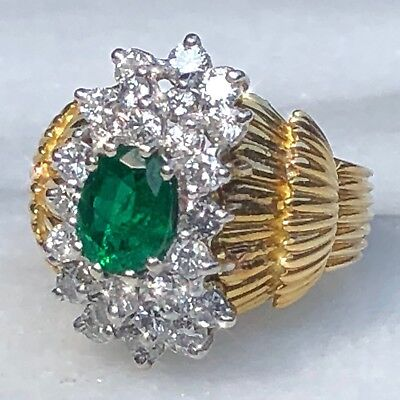 $5200 18K Yellow Gold Oval Emerald G-H Diamond Halo HUGE Vintage Ring Certified