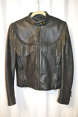 Vintage Women Harley Davidson Willie G Touring Jacket Braids Fringe Wings Sz 36