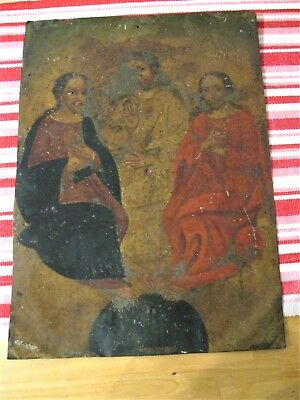 Original Antique Retablo On Tin Image Of The Holy Trinity 10'' By 13 3/4''