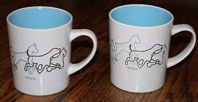 New! Set of 2 Mainstays Dog Woof Mug Cups, White with Blue Interior, 13 oz.